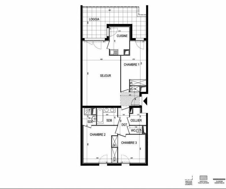 Plan B41, appartement neuf type T4 au 4ème étage, faisant 85m² du programme neuf Le 216 à Montpellier.