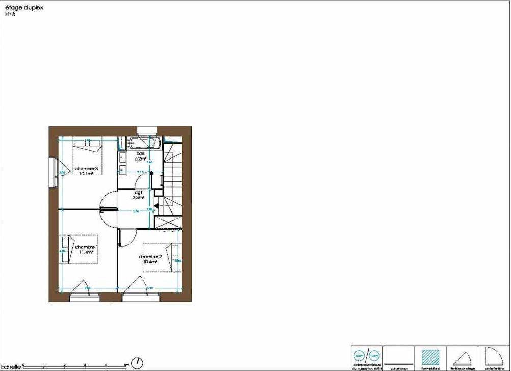 Plan B42, appartement neuf type T4 au Rez de chaussée, orienté Sud faisant 87m² du programme neuf Oak Park à Bègles.