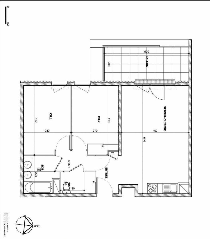 Plan B44, appartement neuf type T3 au 6ème étage, faisant 60m² du programme neuf Le Vallon des Caillols à Marseille.