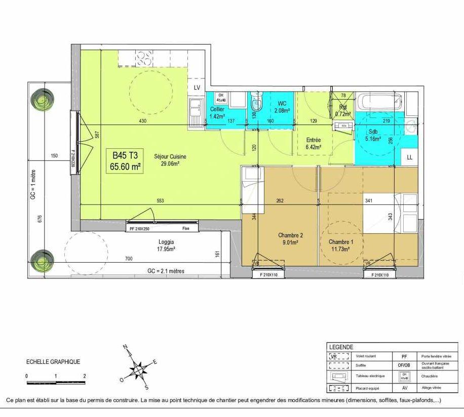 Plan B45, appartement neuf type T3 au 4ème étage, orienté Ouest faisant 66m² du programme neuf LA CREATIVE à Tourcoing.