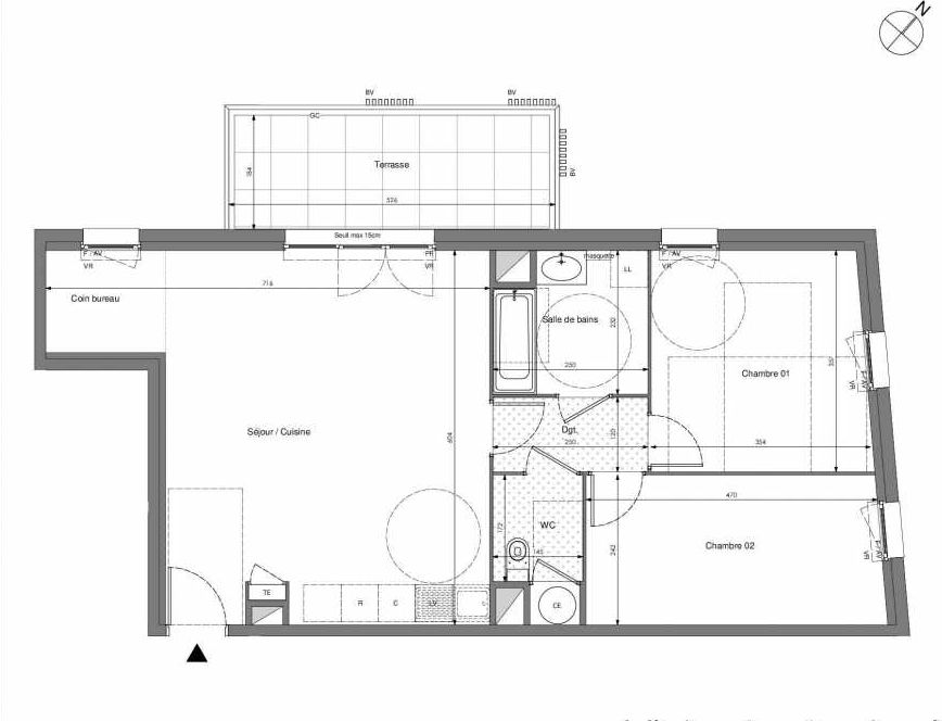 Plan B501, appartement neuf type T3 au 5ème étage, orienté Ouest faisant 70m² du programme neuf Impulsion à Marseille.