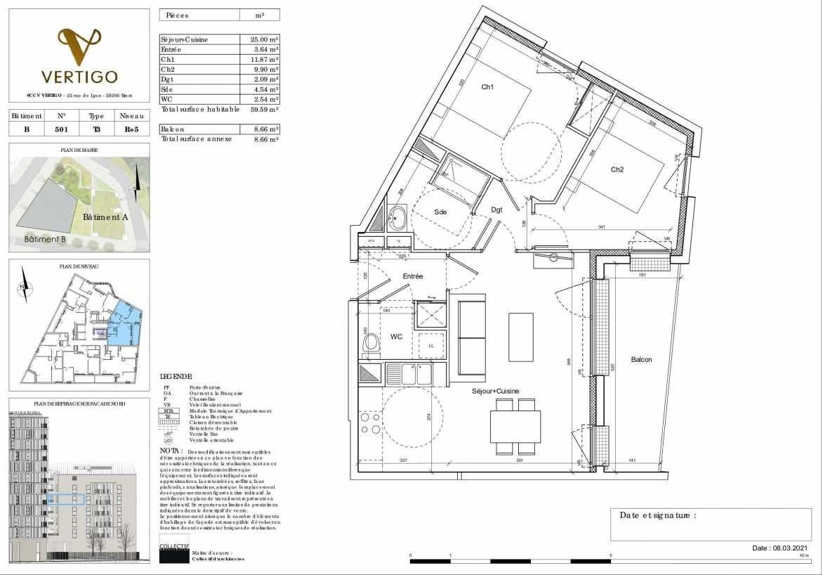 Plan B501, appartement neuf type T3 au 5ème étage, orienté Est faisant 60m² du programme neuf Vertigo à Brest.
