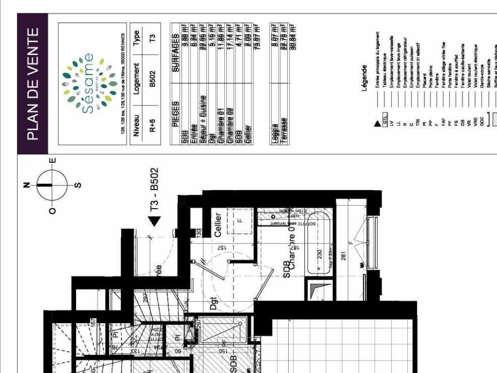 Plan B502, appartement neuf type T3 au 5ème étage, orienté Ouest faisant 74m² du programme neuf SESAME à Rennes.