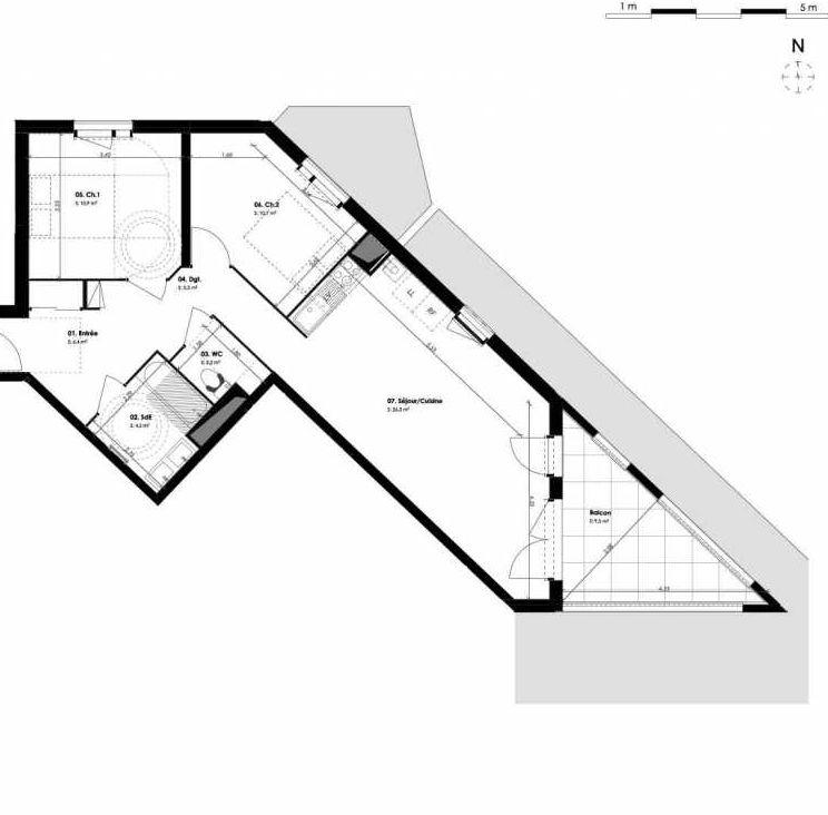 Plan B503, appartement neuf type T3 au 5ème étage, orienté Est faisant 66m² du programme neuf 1804 LIBERTÉ à Montpellier.