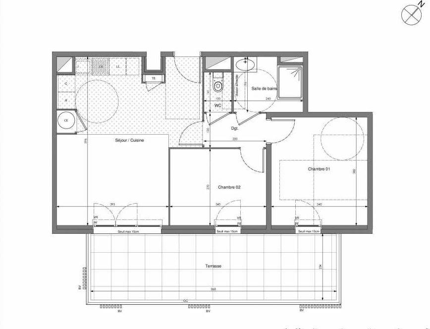 Plan B503, appartement neuf type T3 au 5ème étage, orienté Sud faisant 57m² du programme neuf Impulsion à Marseille.