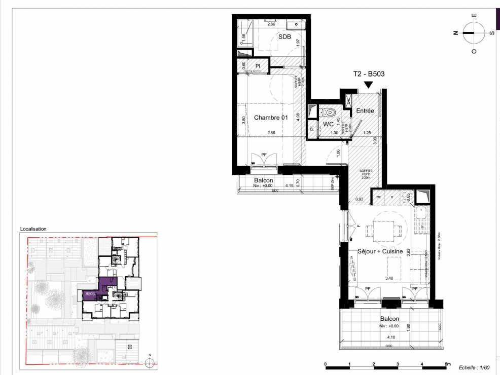 Plan B503, appartement neuf type T2 au 5ème étage, orienté Ouest faisant 41m² du programme neuf SESAME à Rennes.