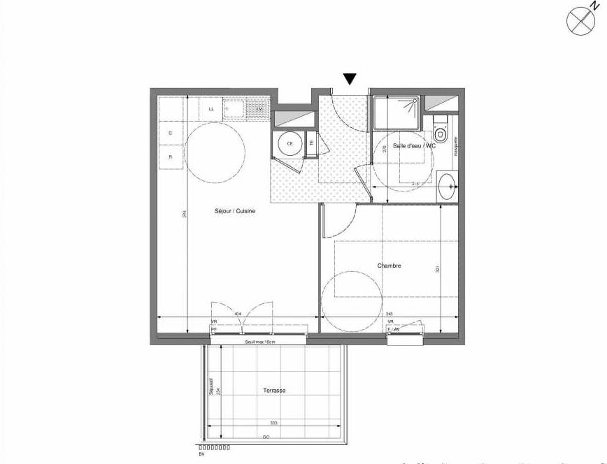 Plan B504, appartement neuf type T2 au 5ème étage, orienté Sud faisant 43m² du programme neuf Impulsion à Marseille.