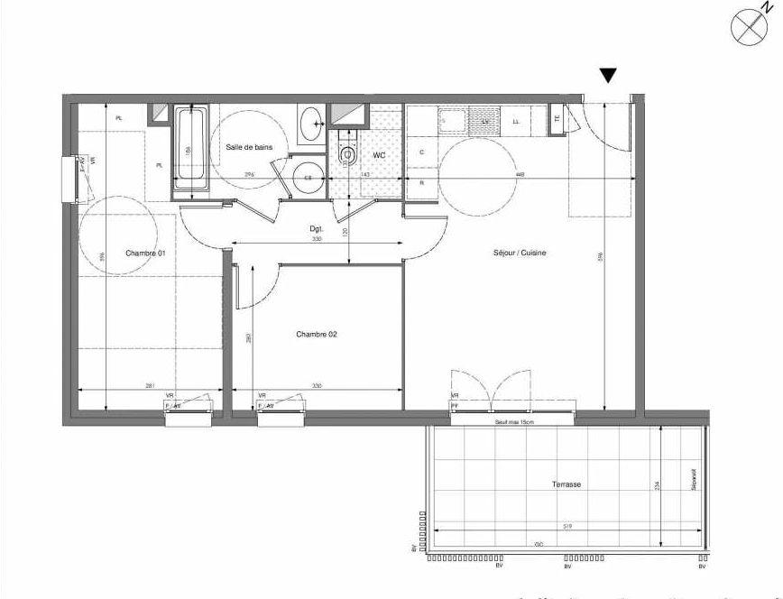 Plan B505, appartement neuf type T3 au 5ème étage, orienté Sud faisant 62m² du programme neuf Impulsion à Marseille.
