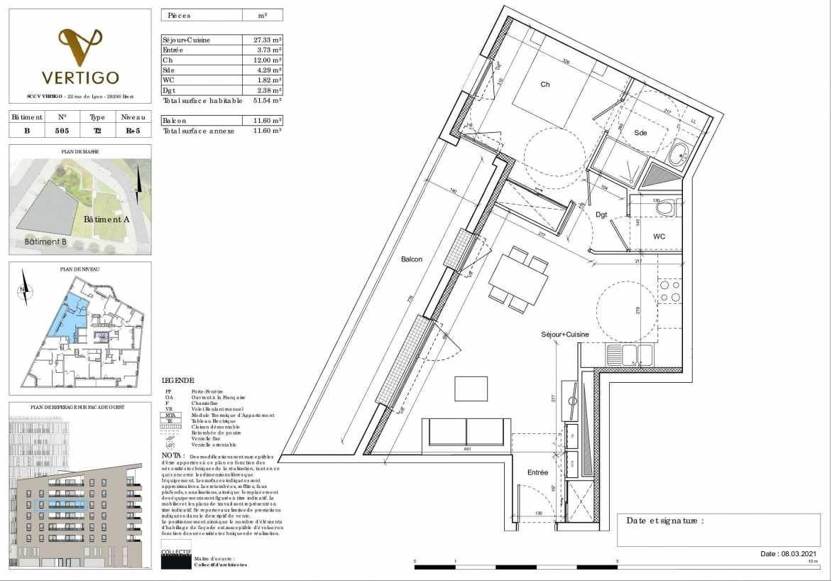 Plan B505, appartement neuf type T2 au 5ème étage, orienté Ouest faisant 52m² du programme neuf Vertigo à Brest.