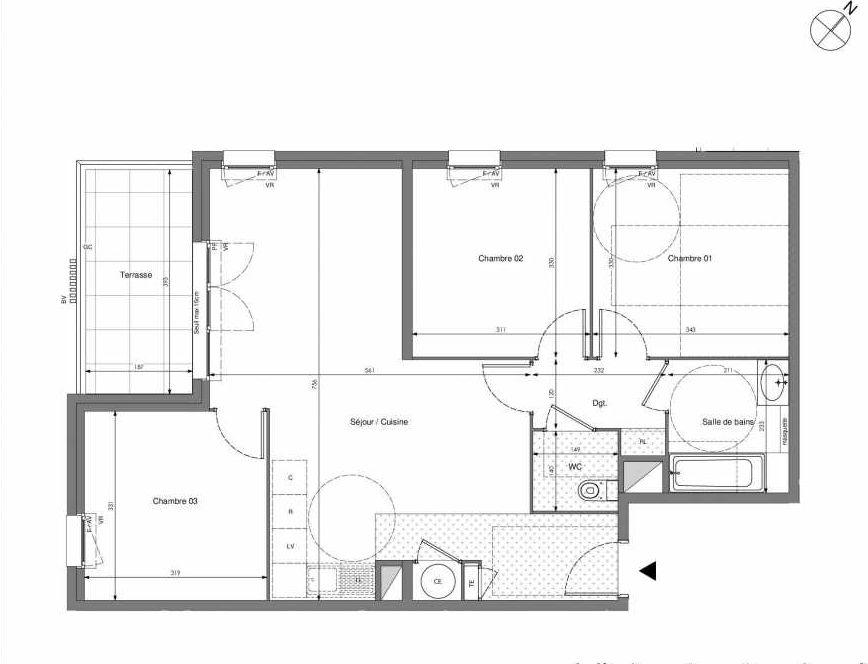 Plan B506, appartement neuf type T4 au 5ème étage, orienté Sud faisant 75m² du programme neuf Impulsion à Marseille.