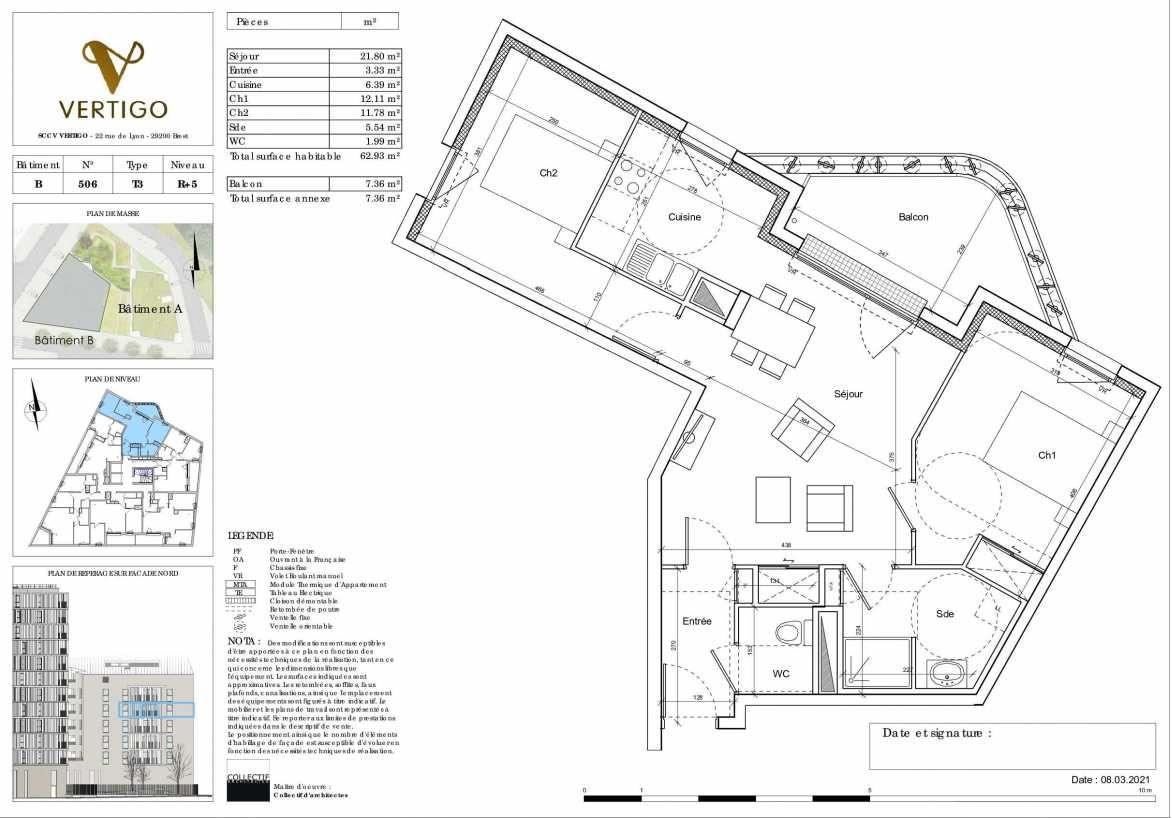 Plan B506, appartement neuf type T3 au 5ème étage, orienté Nord faisant 63m² du programme neuf Vertigo à Brest.