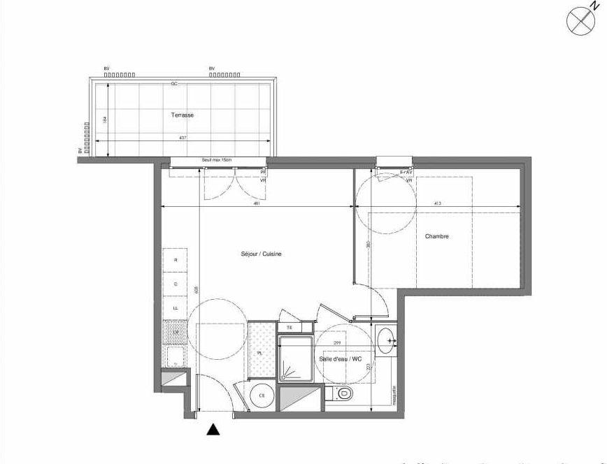 Plan B507, appartement neuf type T2 au 5ème étage, orienté Ouest faisant 43m² du programme neuf Impulsion à Marseille.