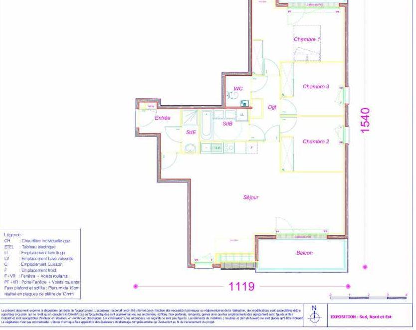 Plan B51, appartement neuf type T4 au 3ème étage, orienté Sud faisant 88m² du programme neuf LES MAGNOLIAS à Melun.
