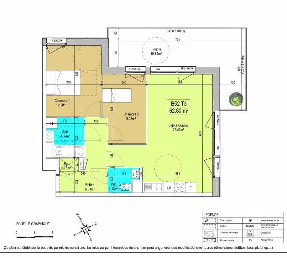 Plan B52, appartement neuf type T3 au 5ème étage, orienté Est faisant 63m² du programme neuf LA CREATIVE à Tourcoing.