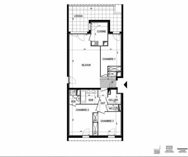 Plan B52, appartement neuf type T4 au 6ème étage, faisant 84m² du programme neuf Le 216 à Montpellier.