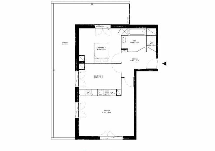 Plan B52, appartement neuf type T3 au 5ème étage, faisant 61m² du programme neuf Place Jacob à Livry-Gargan.