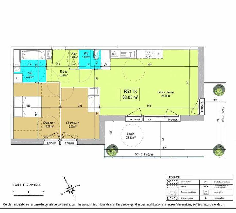 Plan B53, appartement neuf type T3 au 5ème étage, orienté Sud faisant 63m² du programme neuf LA CREATIVE à Tourcoing.