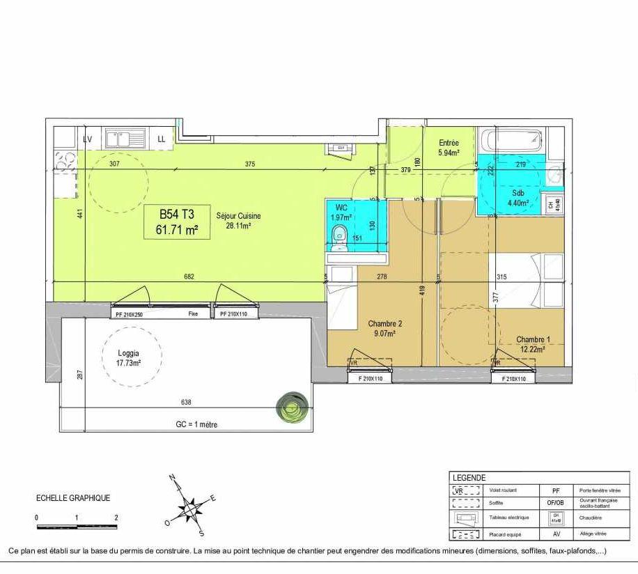 Plan B54, appartement neuf type T3 au 1er étage, orienté Sud du programme neuf LA CREATIVE à Tourcoing.