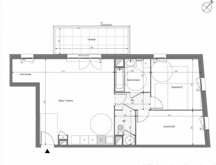 Plan B601, appartement neuf type T3 au 6ème étage, orienté Ouest faisant 70m² du programme neuf Impulsion à Marseille.