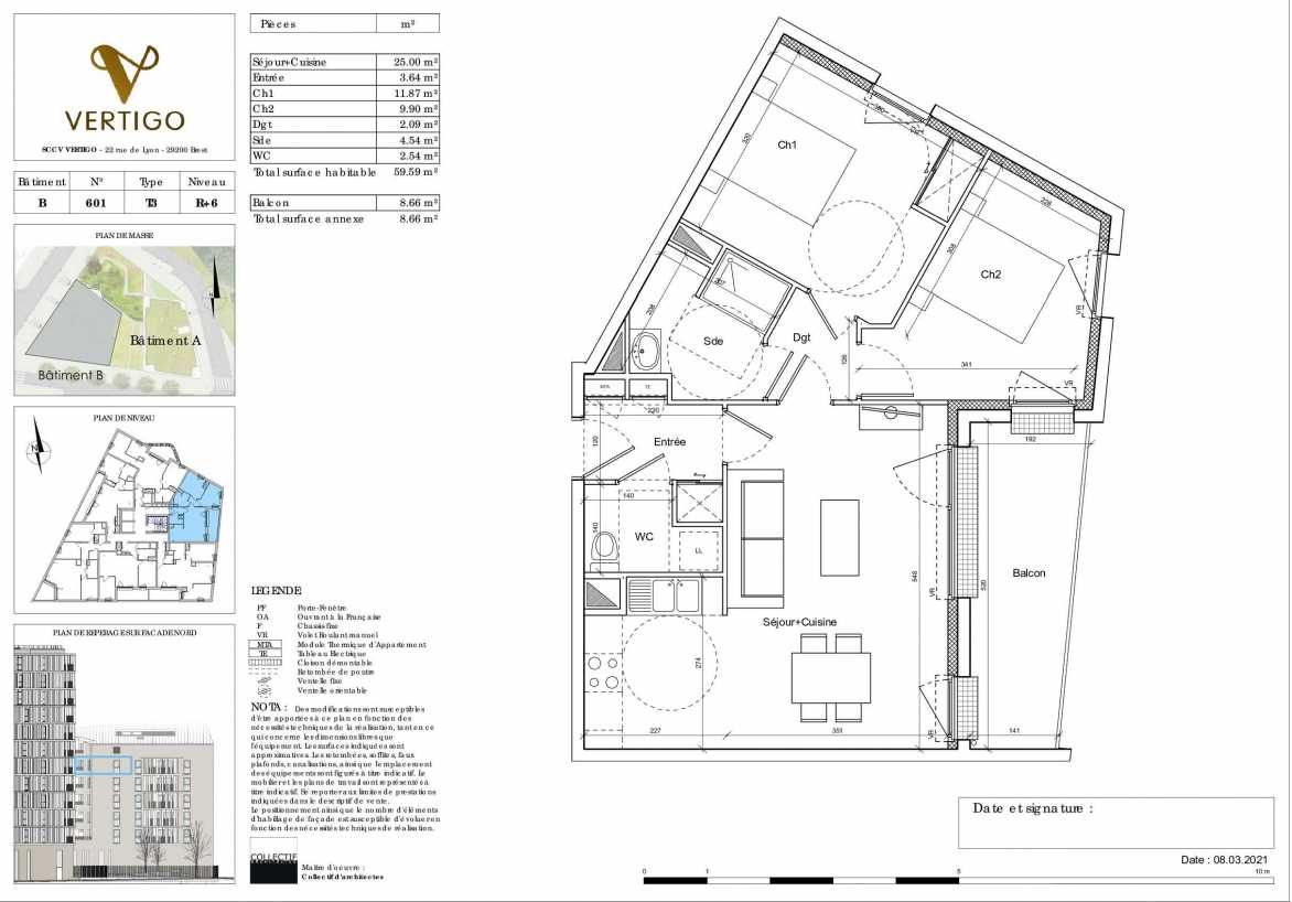 Plan B601, appartement neuf type T3 au 6ème étage, orienté Est faisant 60m² du programme neuf Vertigo à Brest.