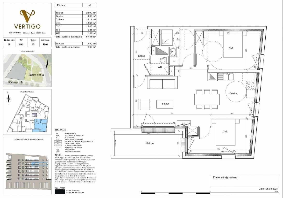 Plan B602, appartement neuf type T3 au 6ème étage, orienté Sud faisant 67m² du programme neuf Vertigo à Brest.