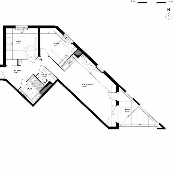 Plan B603, appartement neuf type T3 au 6ème étage, orienté Est faisant 66m² du programme neuf 1804 LIBERTÉ à Montpellier.