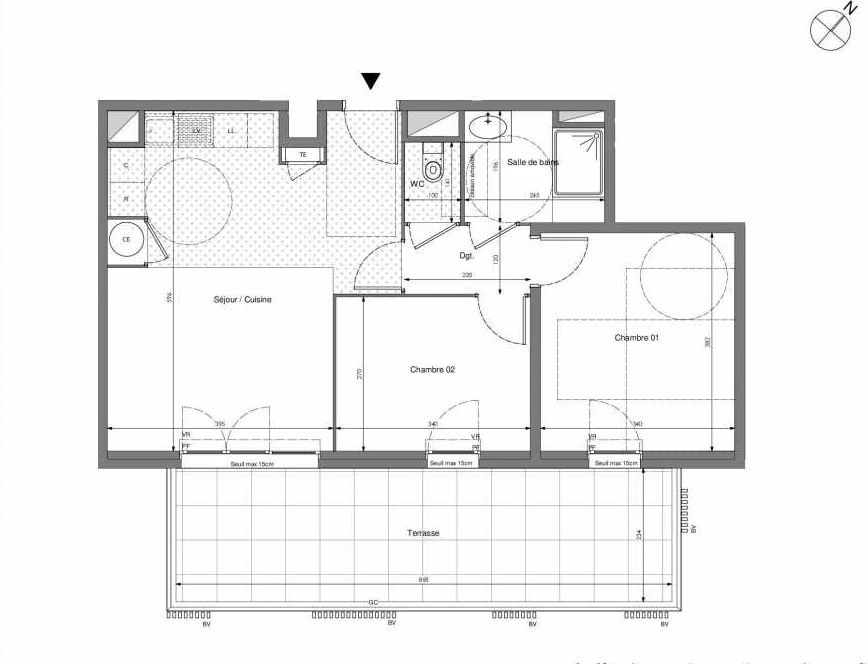 Plan B603, appartement neuf type T3 au 6ème étage, orienté Sud faisant 57m² du programme neuf Impulsion à Marseille.