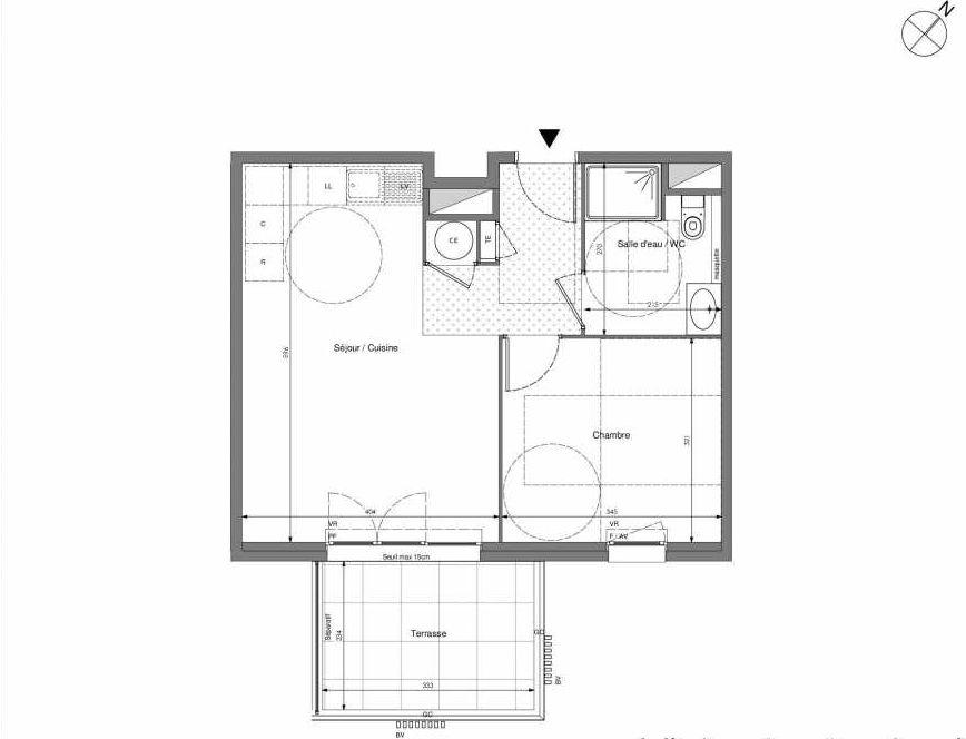 Plan B604, appartement neuf type T2 au 6ème étage, orienté Sud faisant 43m² du programme neuf Impulsion à Marseille.