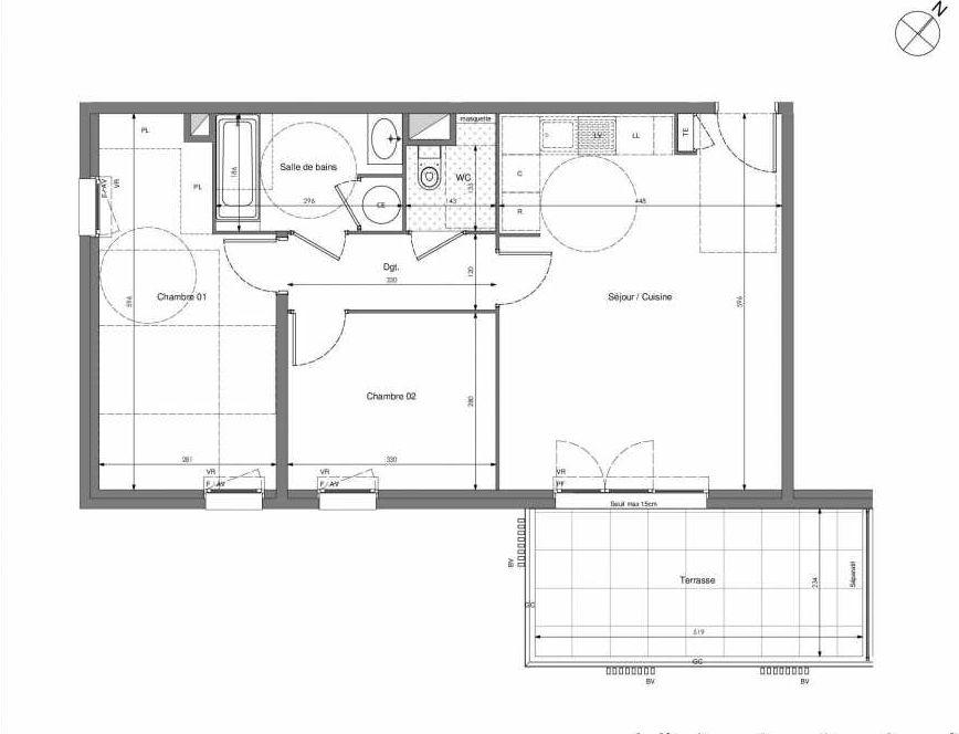 Plan B605, appartement neuf type T3 au 6ème étage, orienté Sud faisant 62m² du programme neuf Impulsion à Marseille.