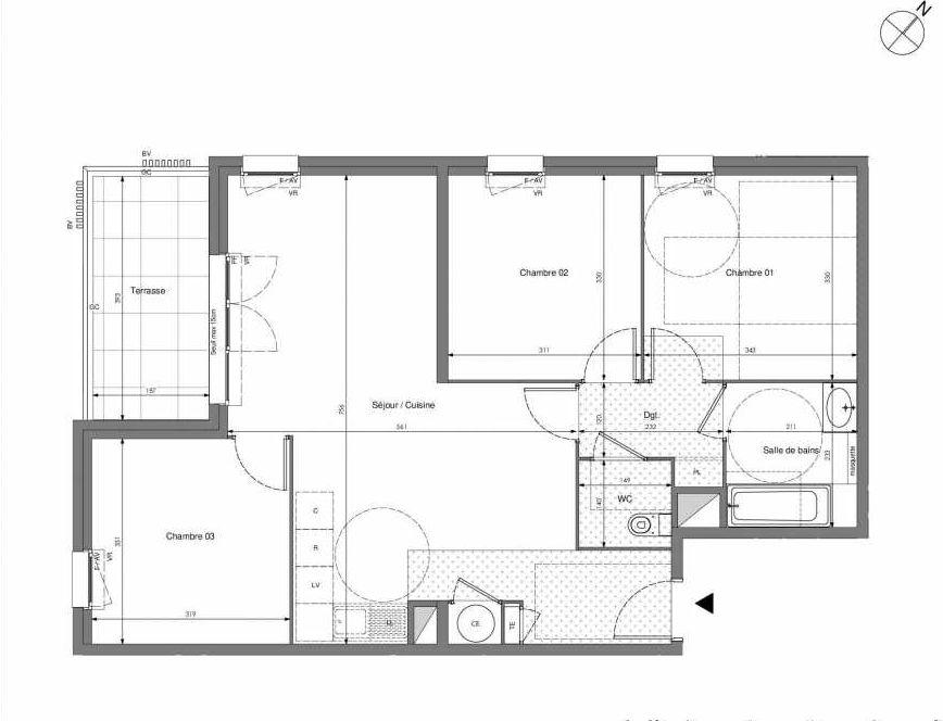 Plan B606, appartement neuf type T4 au 6ème étage, orienté Sud faisant 75m² du programme neuf Impulsion à Marseille.