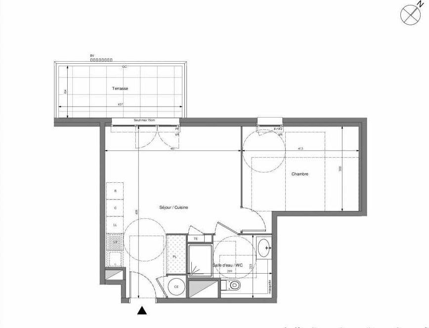 Plan B607, appartement neuf type T2 au 6ème étage, orienté Ouest faisant 43m² du programme neuf Impulsion à Marseille.