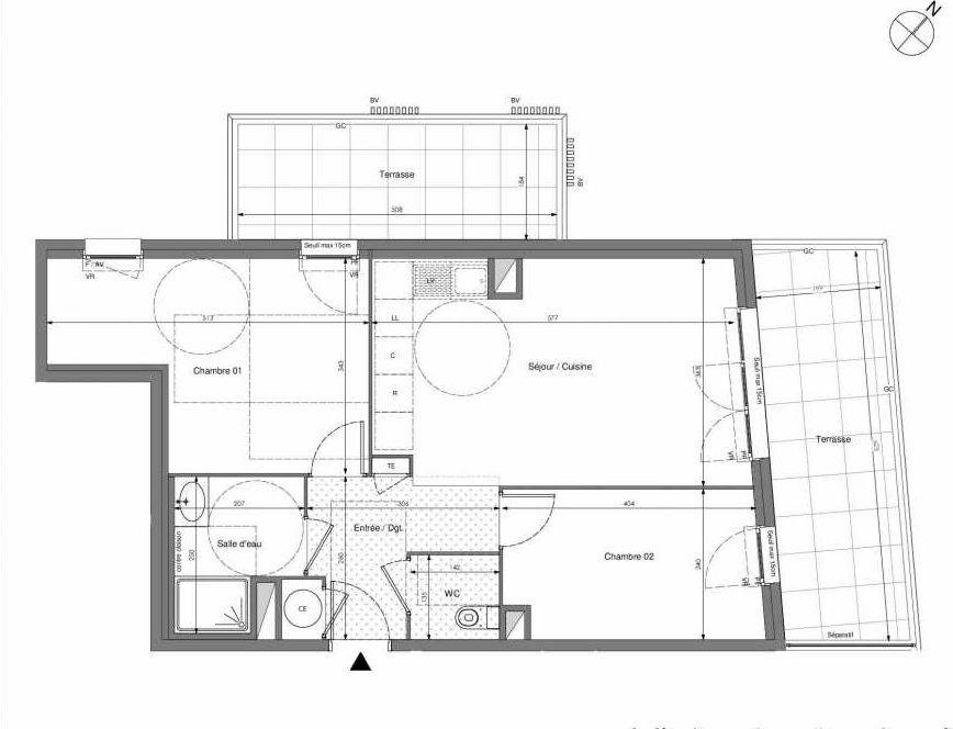 Plan B701, appartement neuf type T3 au 7ème étage, orienté Ouest faisant 57m² du programme neuf Impulsion à Marseille.