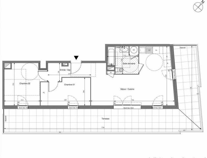 Plan B702, appartement neuf type T3 au 7ème étage, orienté Sud faisant 62m² du programme neuf Impulsion à Marseille.