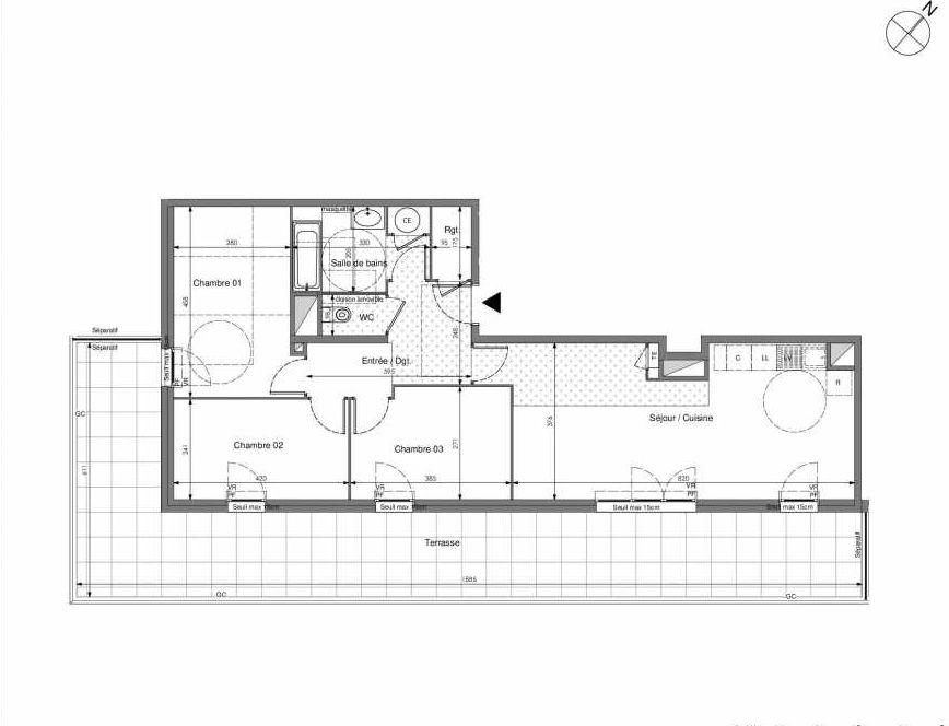 Plan B703, appartement neuf type T4 au 7ème étage, orienté Sud faisant 81m² du programme neuf Impulsion à Marseille.