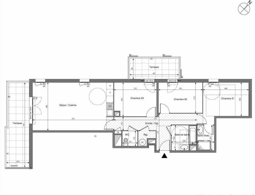 Plan B704, appartement neuf type T4 au 7ème étage, orienté Sud faisant 89m² du programme neuf Impulsion à Marseille.