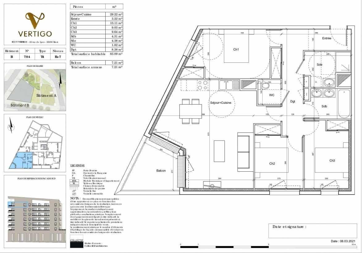 Plan B704, appartement neuf type T4 au 7ème étage, orienté Sud faisant 83m² du programme neuf Vertigo à Brest.