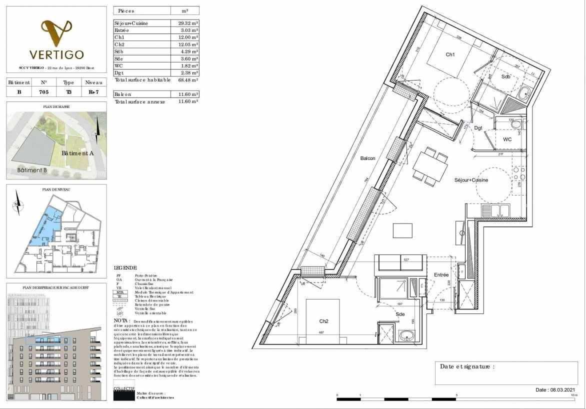 Plan B705, appartement neuf type T3 au 7ème étage, orienté Ouest faisant 68m² du programme neuf Vertigo à Brest.