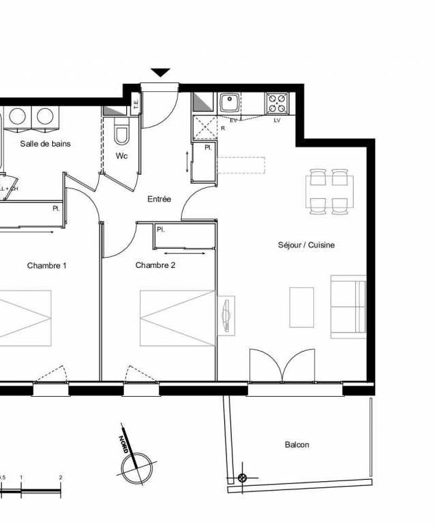 Plan C0.02, appartement neuf type T3 au Rez de chaussée, faisant 66m² du programme neuf Résidence L'Azuria à Toulouse.
