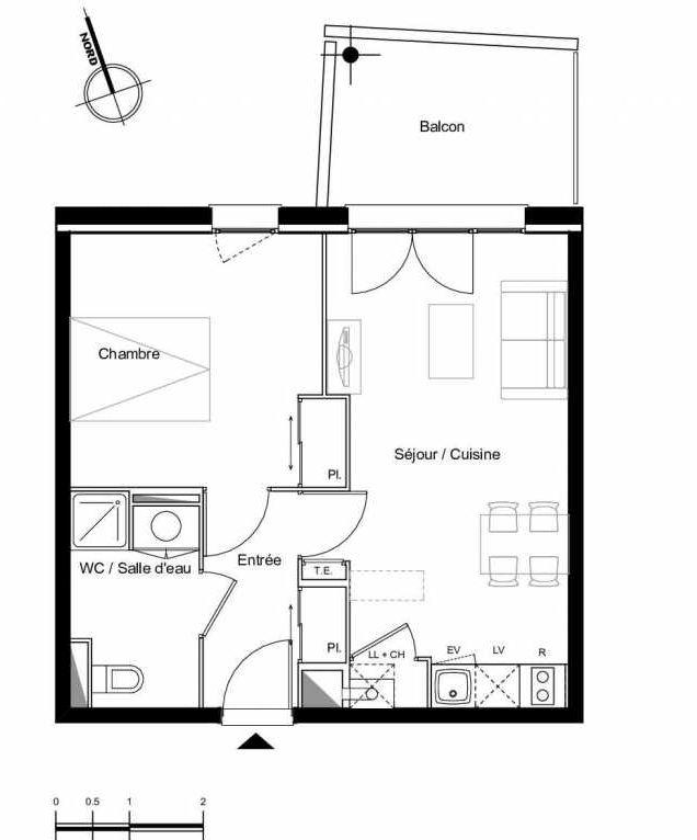 Plan C0.04, appartement neuf type T2 au Rez de chaussée, faisant 41m² du programme neuf Résidence L'Azuria à Toulouse.