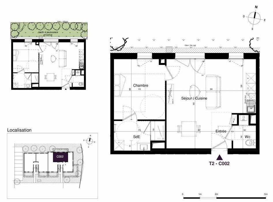 Plan C002, appartement neuf type T2 au Rez de chaussée, orienté Est faisant 45m² du programme neuf LES RIVES DE LUCE à Sainte-Luce-sur-Loire.