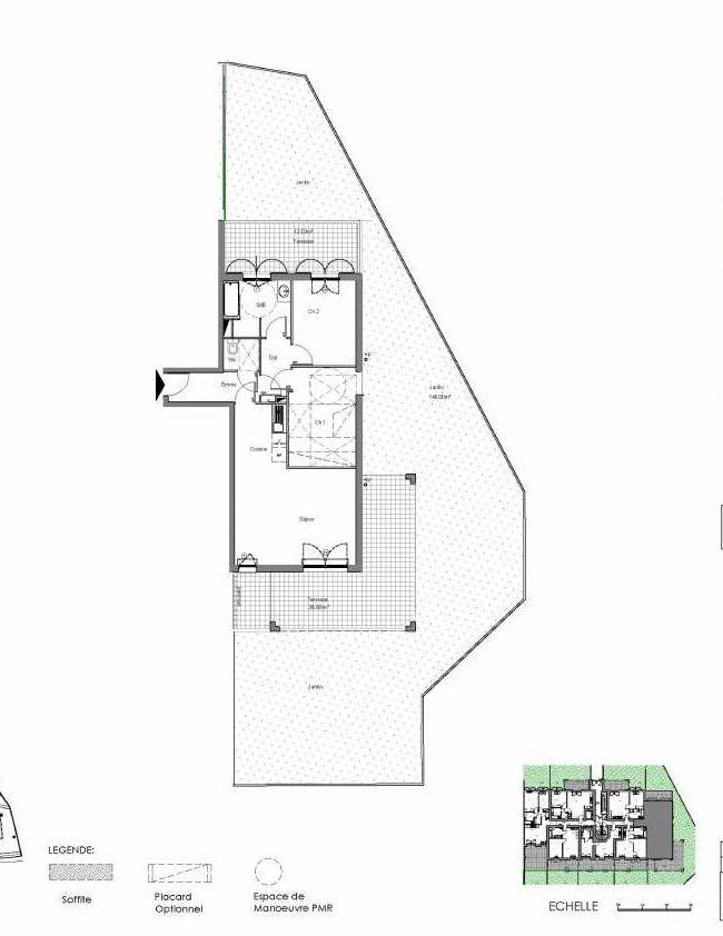 Plan C005, appartement neuf type T3 au Rez de jardin, orienté Sud faisant 62m² du programme neuf Loderi à Bormes-les-Mimosas.