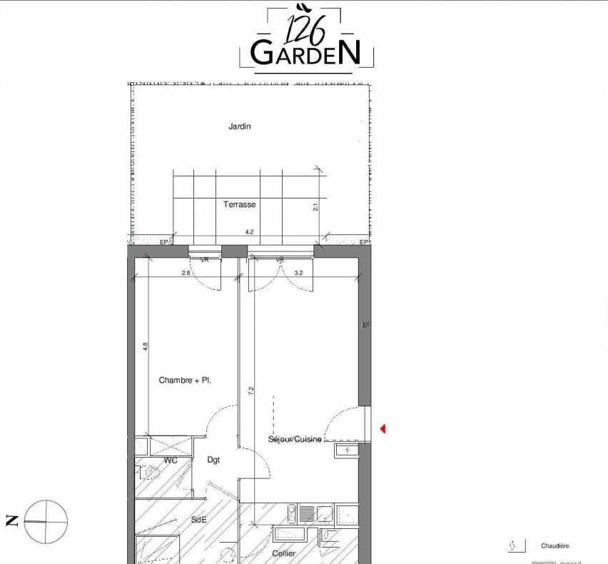 Plan C01, appartement neuf type T2 au Rez de chaussée, faisant 49m² du programme neuf 126 GARDEN à Toulouse.