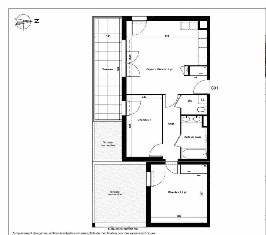 Plan C01, appartement neuf type T3 au Rez de chaussée, faisant 64m² du programme neuf Excellence Méjanes à Aix-en-Provence.