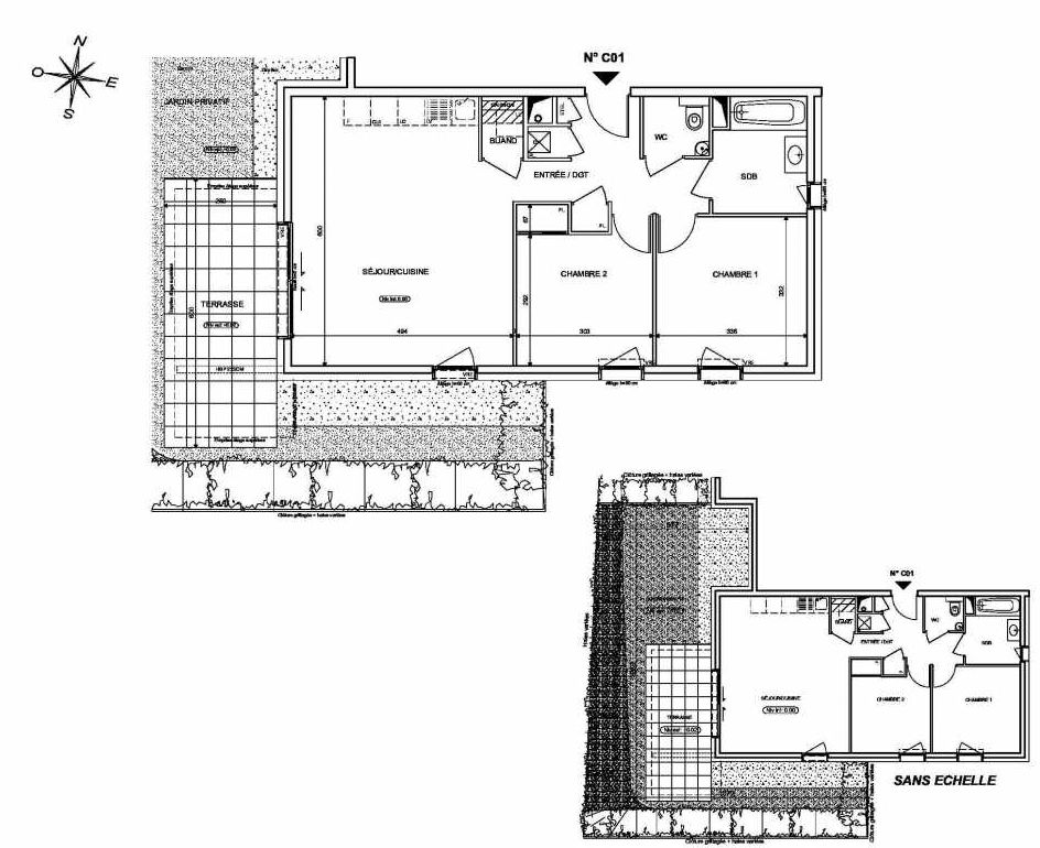 Plan C01, appartement neuf type T3 au Rez de chaussée, orienté Sud faisant 66m² du programme neuf INFINITY à Publier.