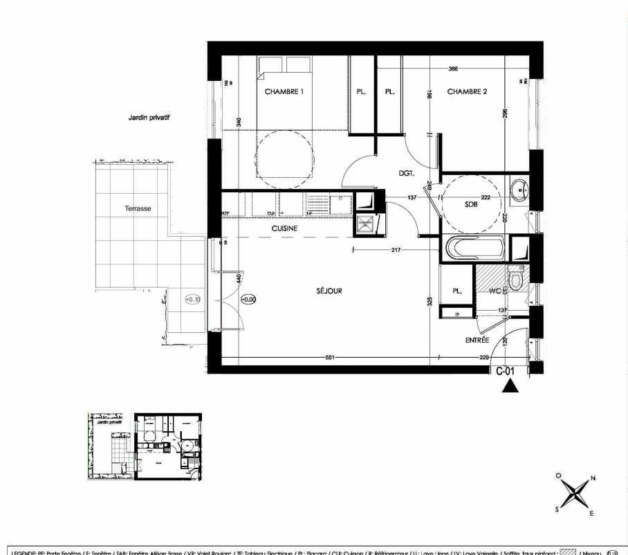 Plan C01, appartement neuf, orienté Sud faisant 58m² du programme neuf La Closeraie à Villeneuve-d'Ascq.