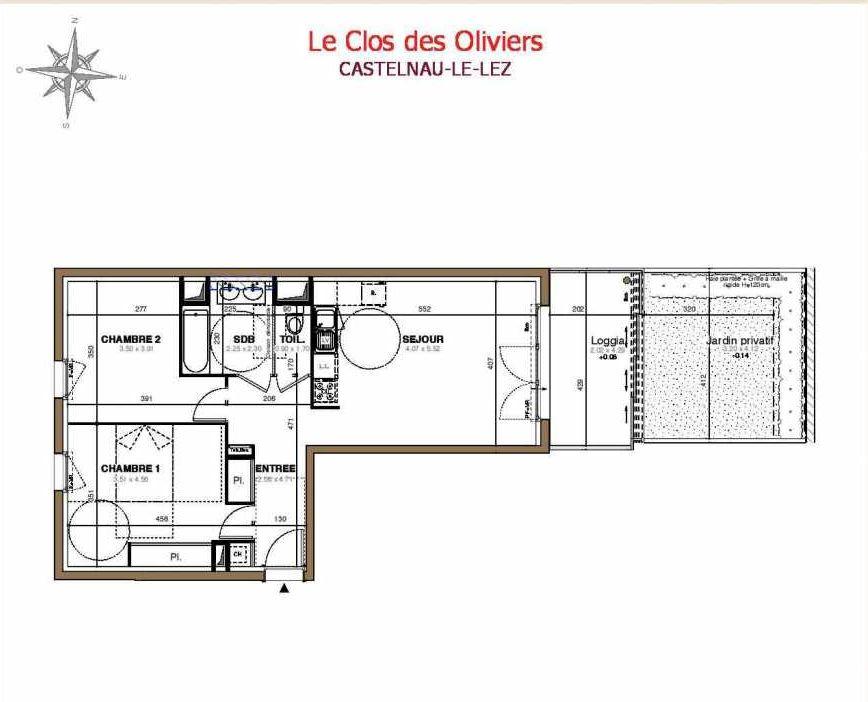 Plan C01, appartement neuf type T3 au Rez de jardin, faisant 61m² du programme neuf Le Clos des Oliviers à Castelnau-le-Lez.
