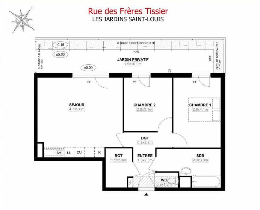Plan C01, appartement neuf type T3 au Rez de jardin, orienté Ouest faisant 61m² du programme neuf Les Jardins Saint-Louis à Carrières-sous-Poissy.