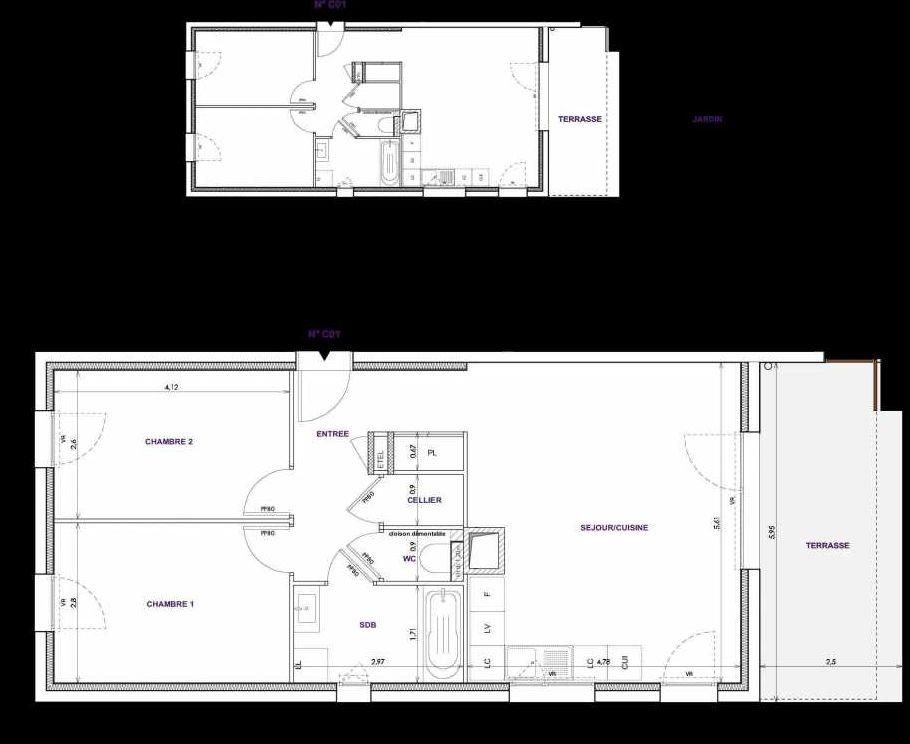 Plan C01, appartement neuf type T3 au Rez de chaussée, orienté Sud faisant 64m² du programme neuf Les Terrasses d'Orgeoise à Coublevie.