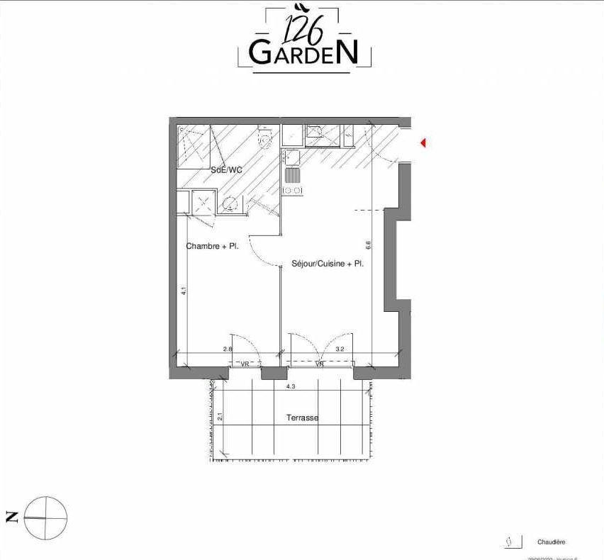 Plan C02, appartement neuf type T2 au Rez de chaussée, faisant 38m² du programme neuf 126 GARDEN à Toulouse.