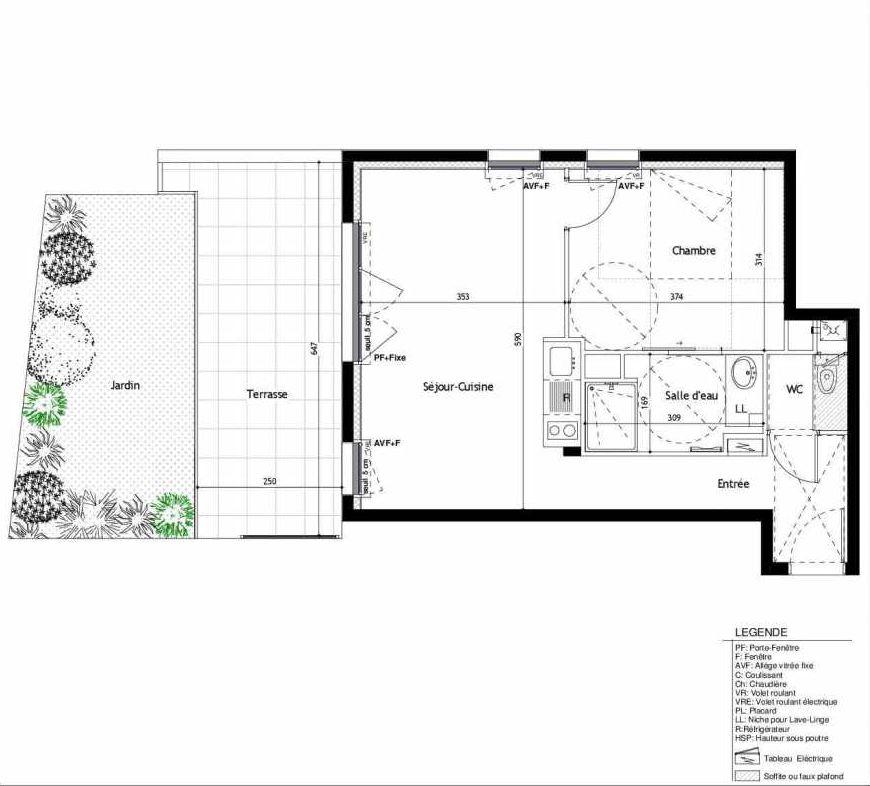 Plan C02, appartement neuf type T2 au Rez de jardin, faisant 45m² du programme neuf BukOlia à Nantes.
